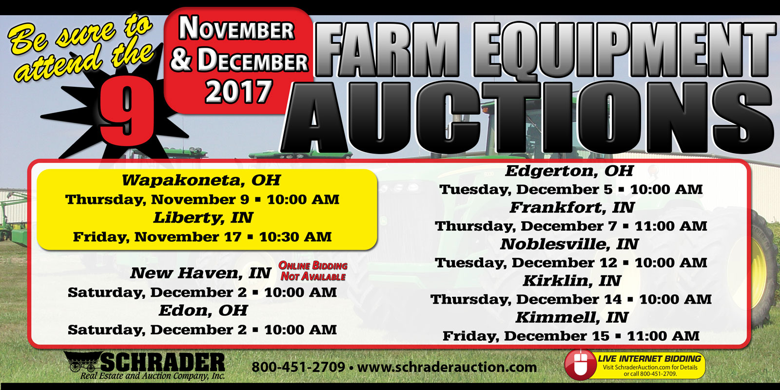 Upcoming Farm Equipment Sales